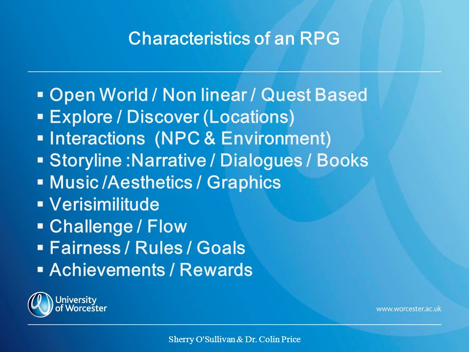 Characteristics of an RPG