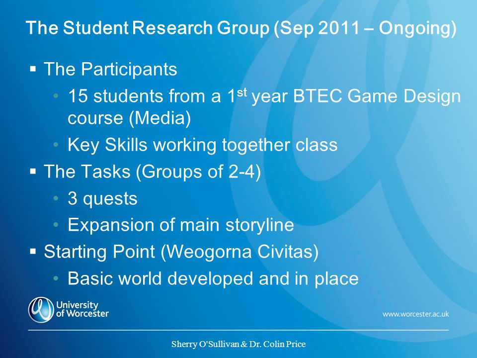 The Student Research Group (Sep 2011 – Ongoing)