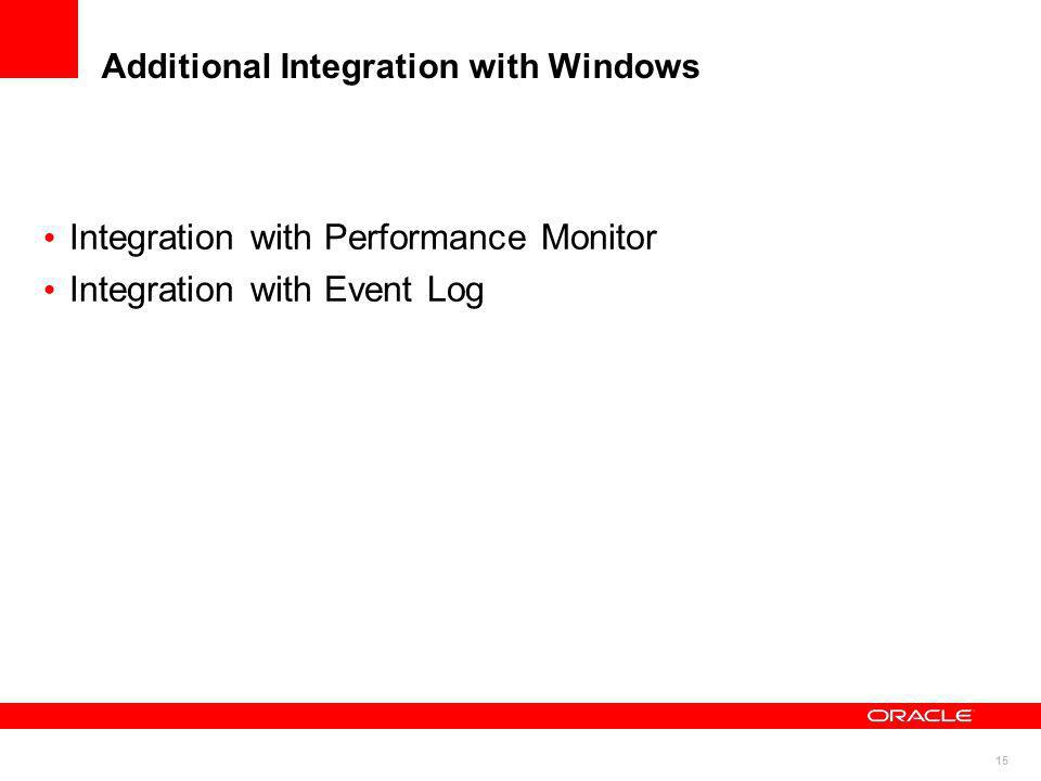 Additional Integration with Windows