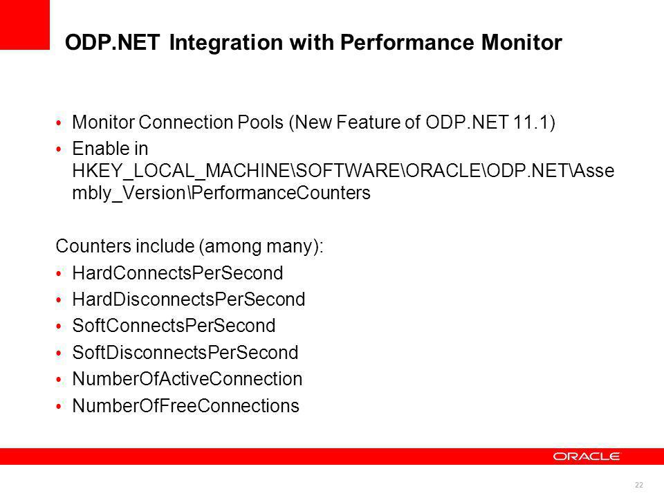 ODP.NET Integration with Performance Monitor