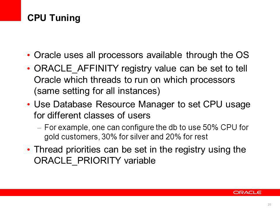 Oracle uses all processors available through the OS