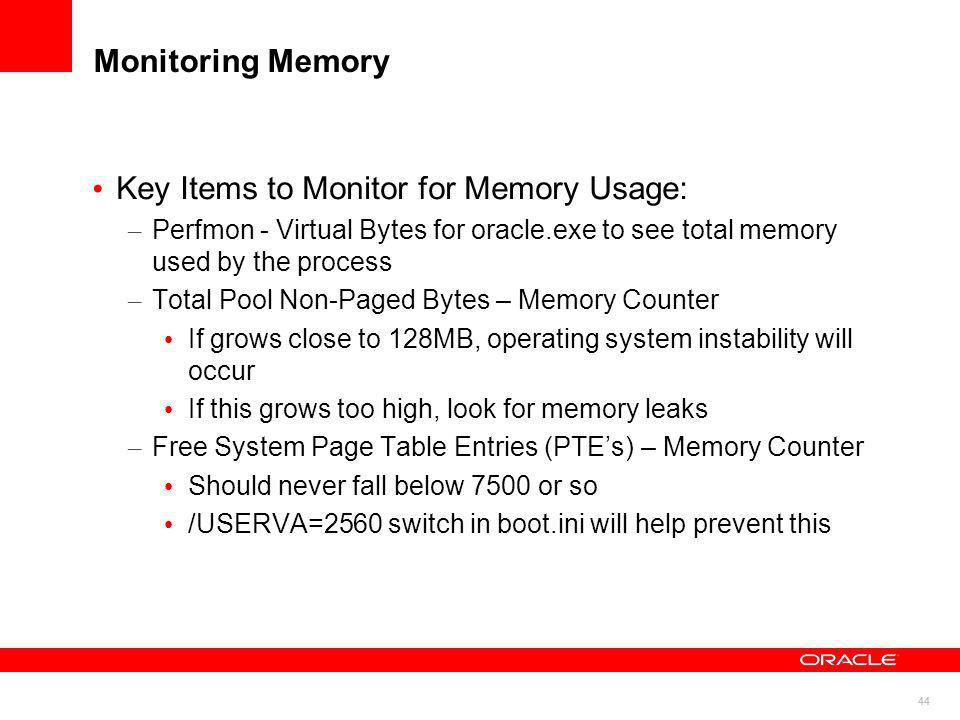 Key Items to Monitor for Memory Usage: