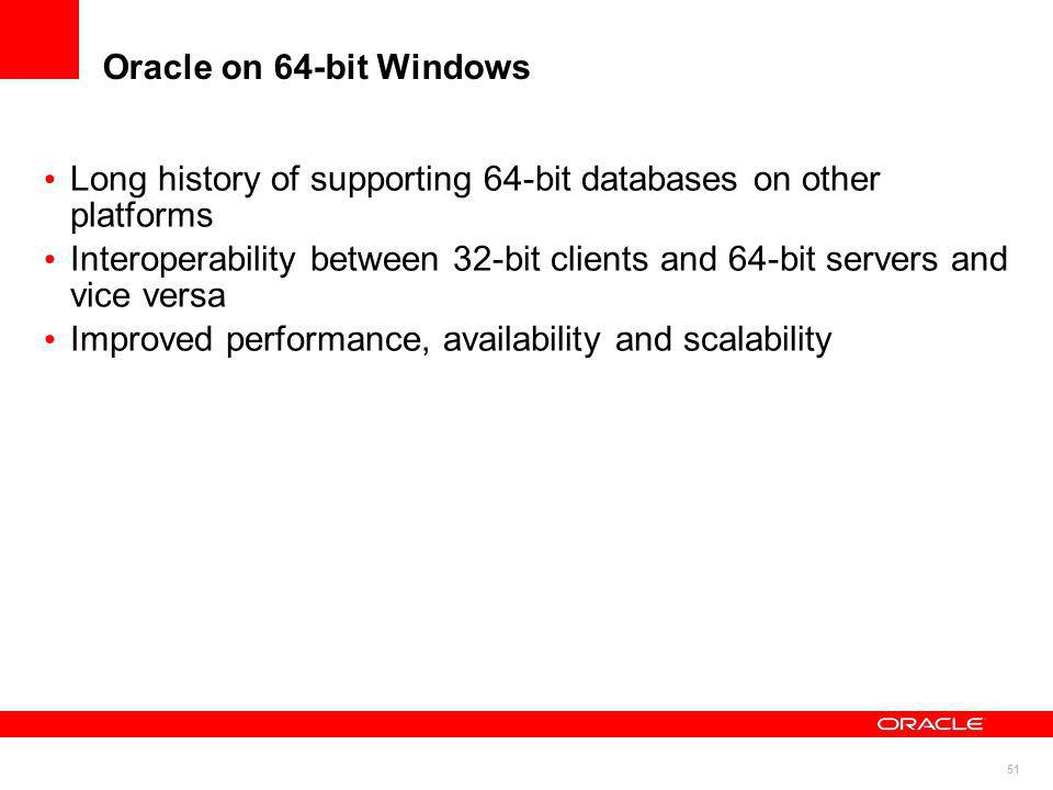 Oracle on 64-bit Windows Long history of supporting 64-bit databases on other platforms.