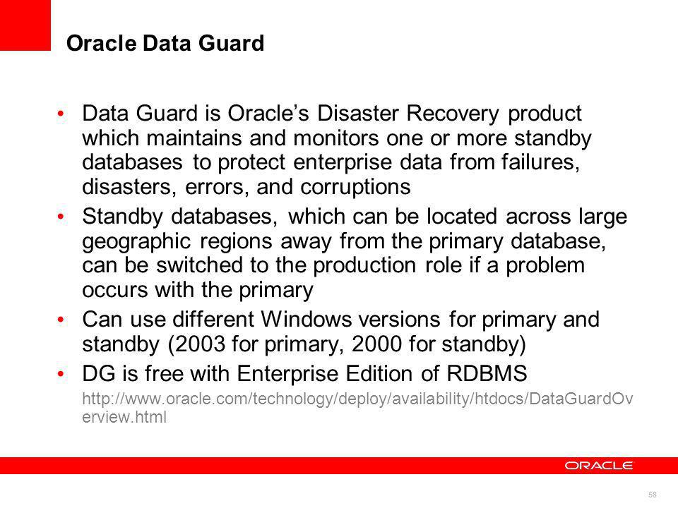 DG is free with Enterprise Edition of RDBMS