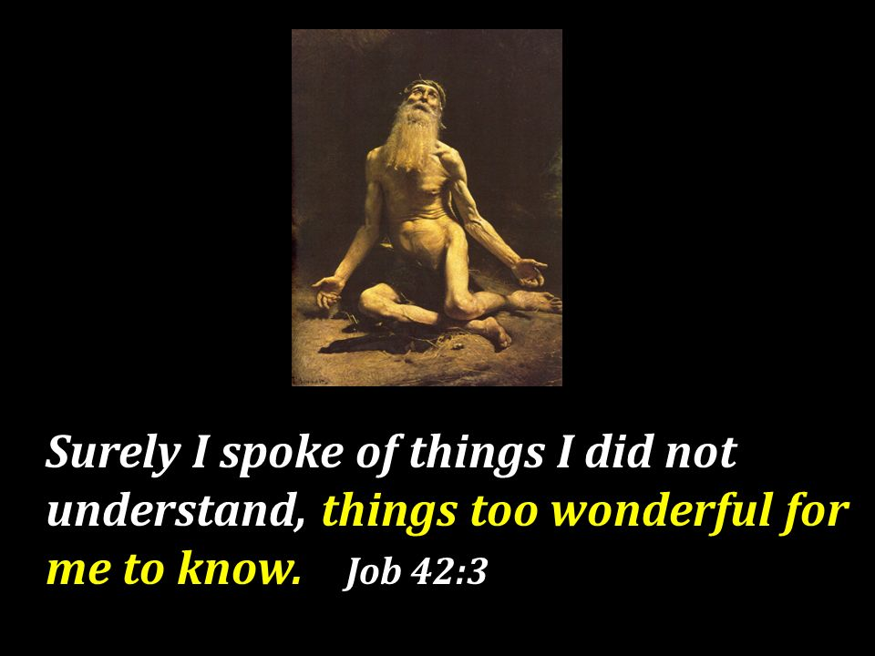 Surely I spoke of things I did not understand, things too wonderful for me to know. Job 42:3