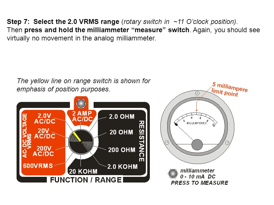 Step 7: Select the 2.0 VRMS range (rotary switch in ~11 O'clock position).