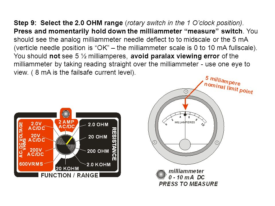 Step 9: Select the 2.0 OHM range (rotary switch in the 1 O'clock position).