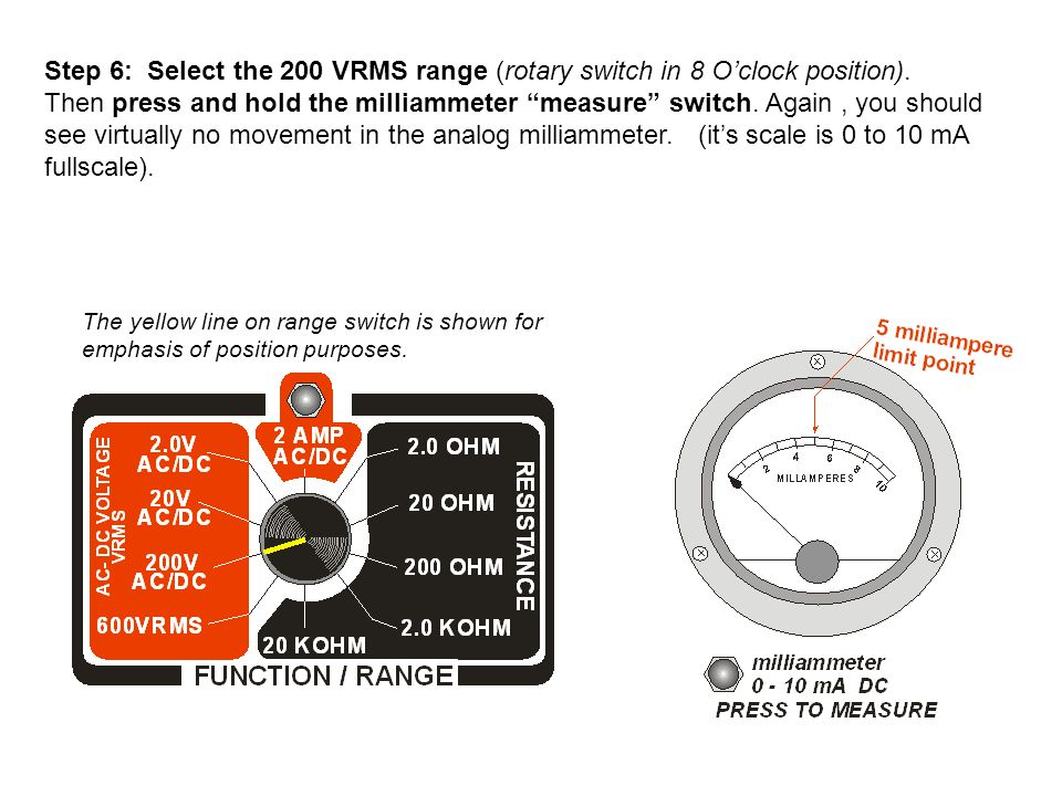Step 6: Select the 200 VRMS range (rotary switch in 8 O'clock position).