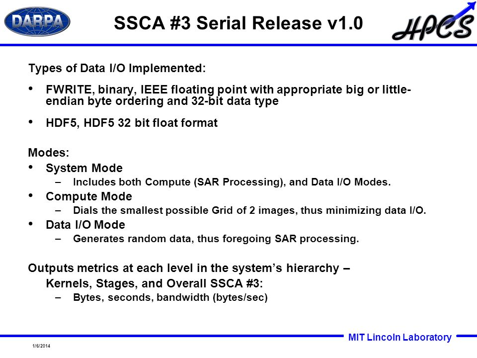SSCA #3 Serial Release v1.0 Types of Data I/O Implemented: