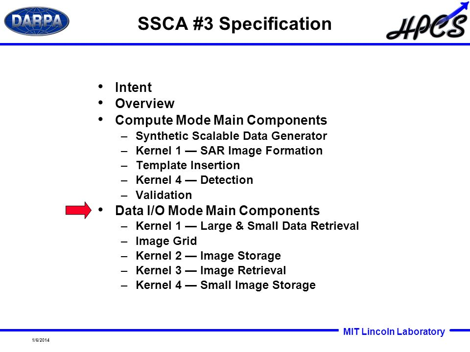 SSCA #3 Specification Intent Overview Compute Mode Main Components