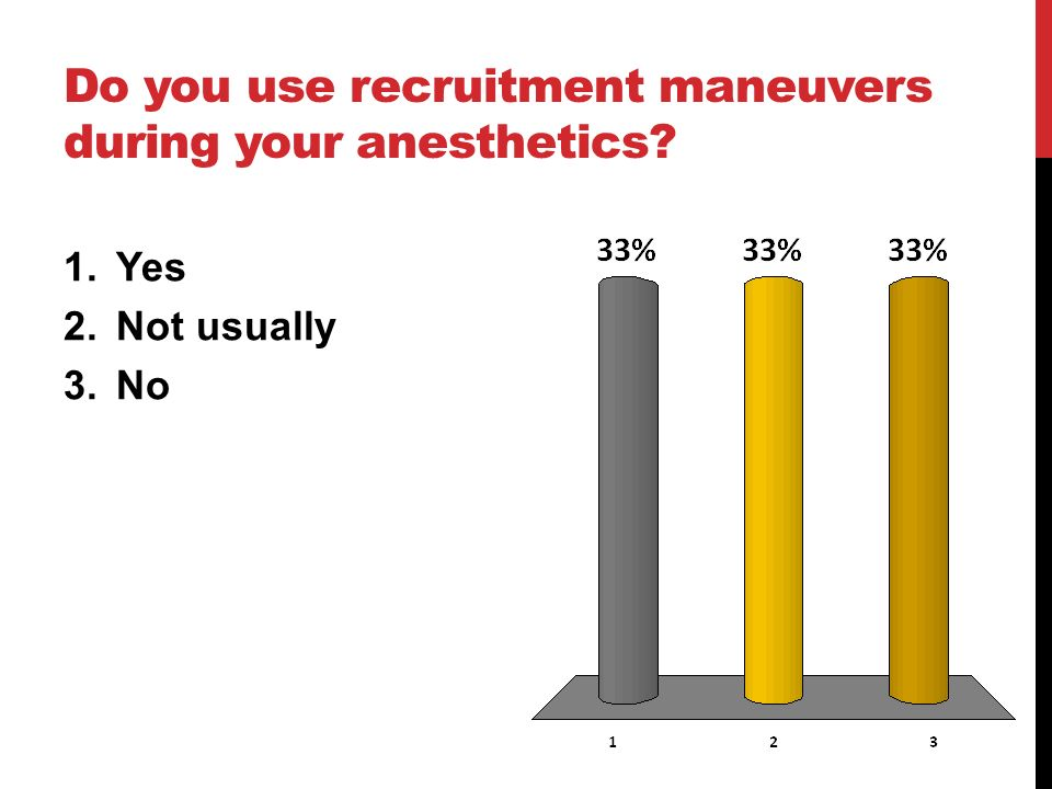 Do you use recruitment maneuvers during your anesthetics