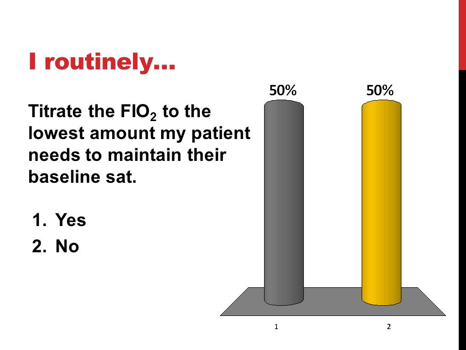 I routinely… Titrate the FIO2 to the lowest amount my patient needs to maintain their baseline sat.