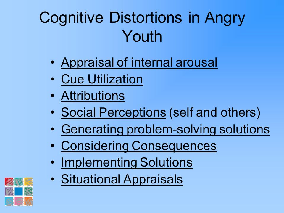 Cognitive Distortions in Angry Youth