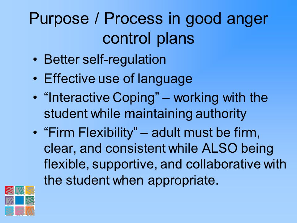 Purpose / Process in good anger control plans