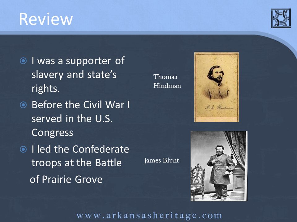 Review I was a supporter of slavery and state's rights.