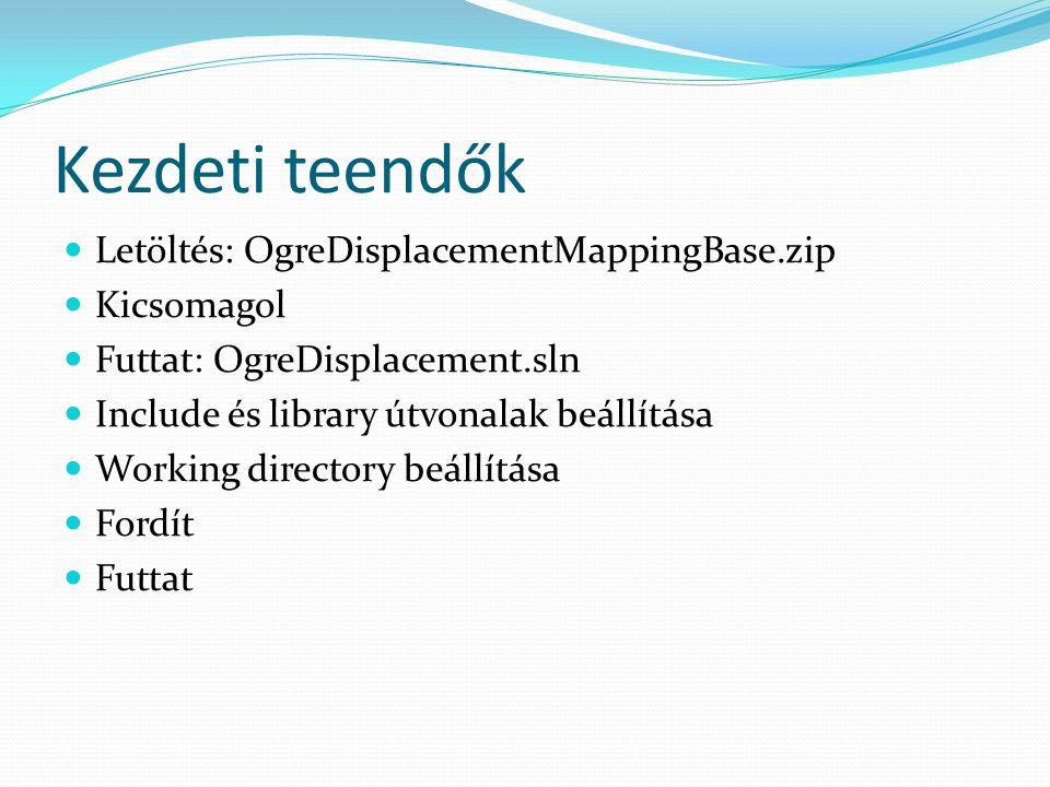 Kezdeti teendők Letöltés: OgreDisplacementMappingBase.zip Kicsomagol