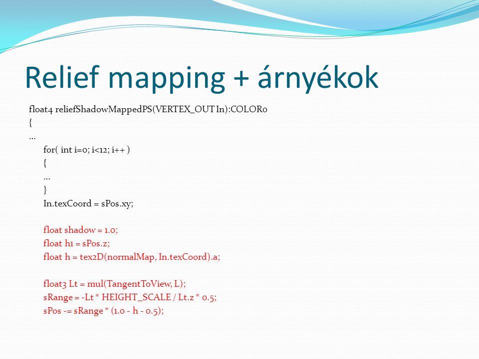 Relief mapping + árnyékok