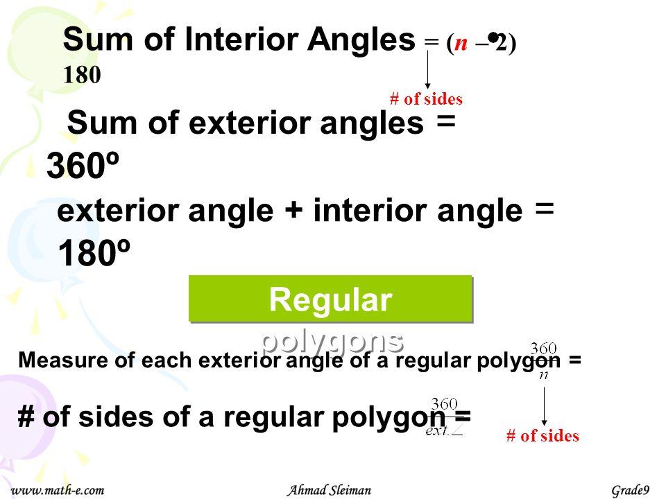 Sum of exterior angles = 360º