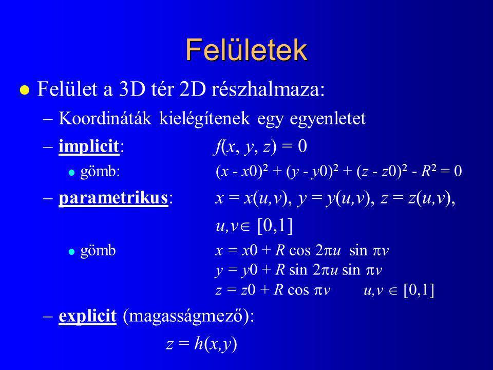 Felületek Felület a 3D tér 2D részhalmaza: