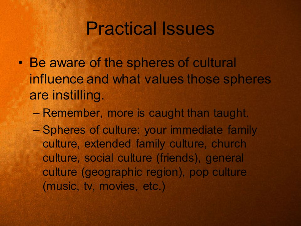 Practical Issues Be aware of the spheres of cultural influence and what values those spheres are instilling.