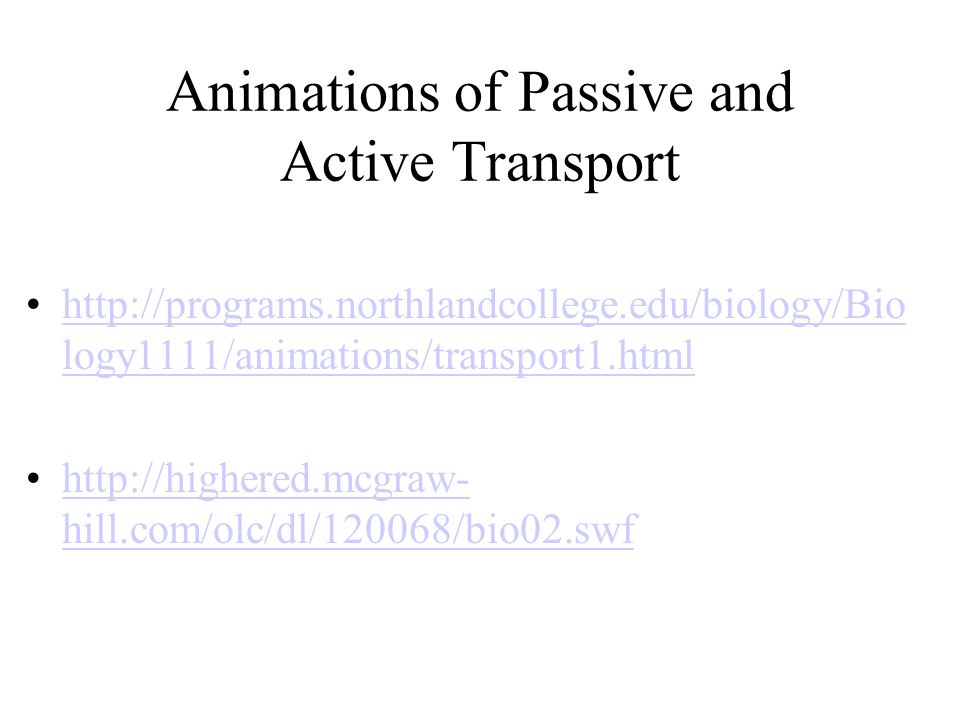 Animations of Passive and Active Transport