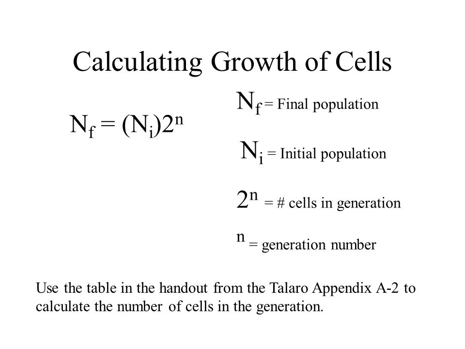 Calculating Growth of Cells
