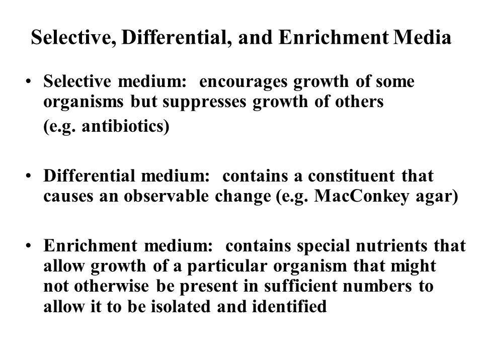 Selective, Differential, and Enrichment Media