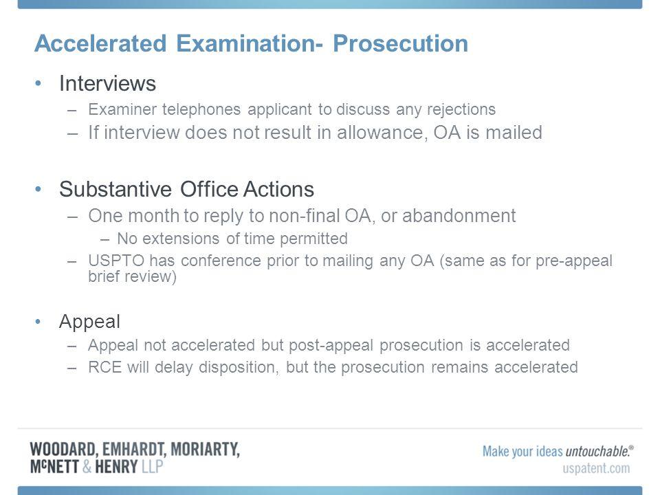 Accelerated Examination- Prosecution