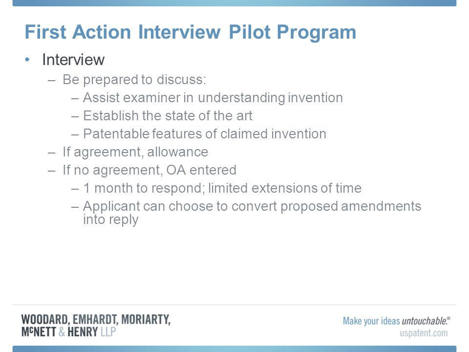 First Action Interview Pilot Program