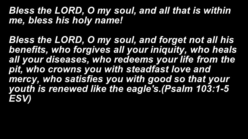 Bless the LORD, O my soul, and all that is within me, bless his holy name!
