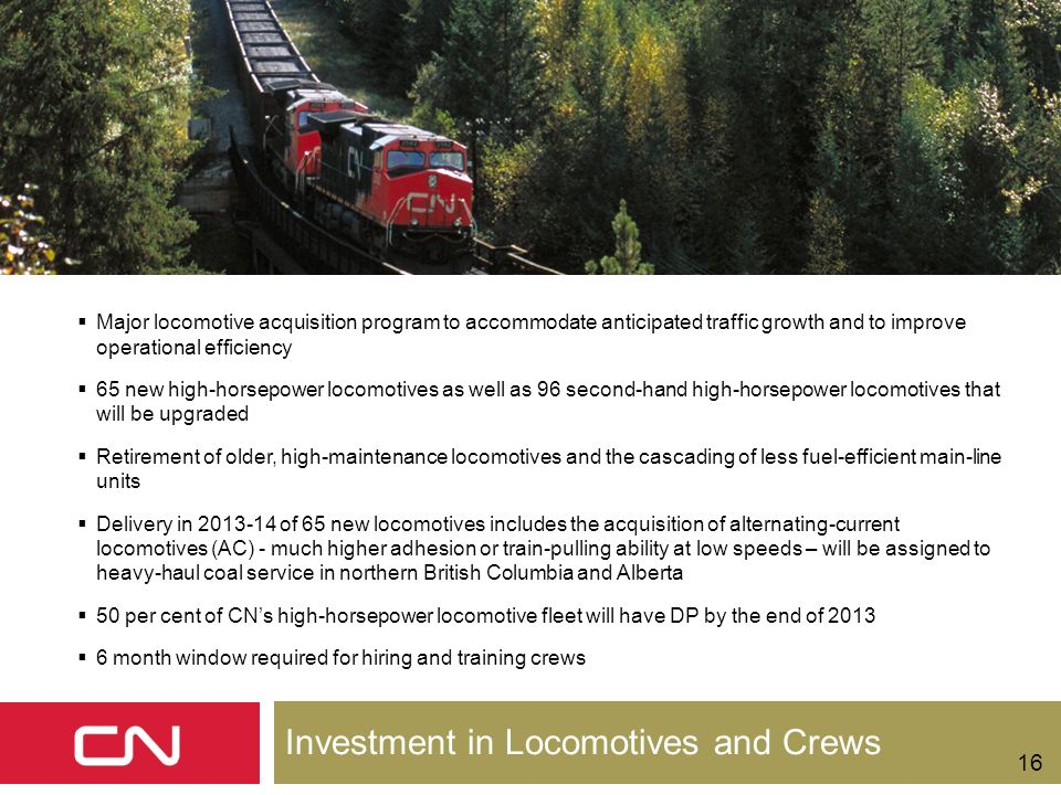 Investment in Locomotives and Crews