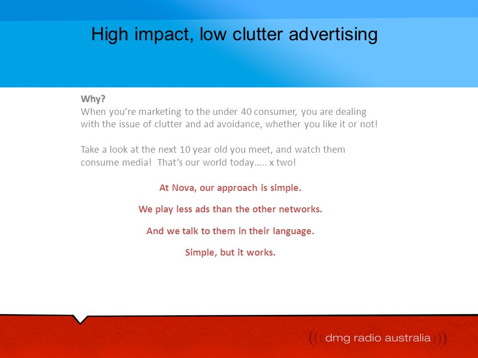 High impact, low clutter advertising