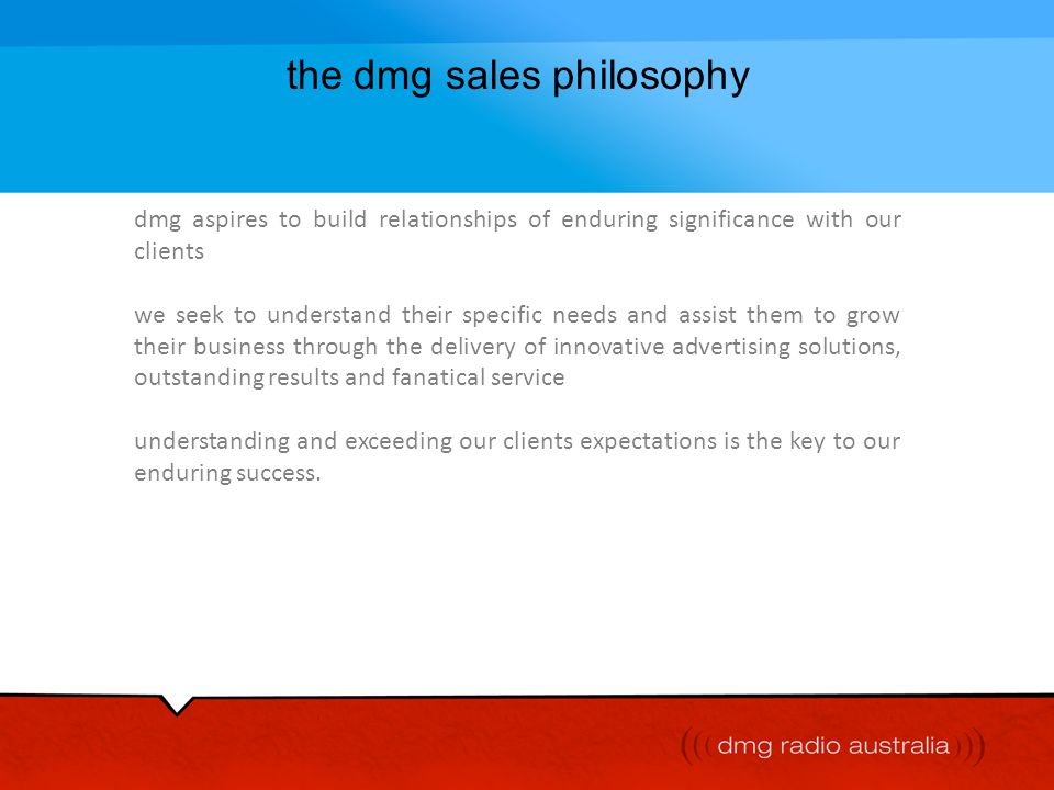 the dmg sales philosophy