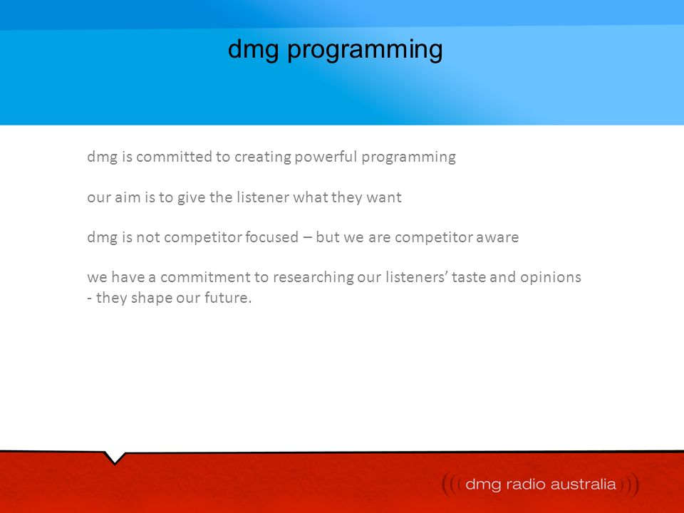 dmg programming dmg is committed to creating powerful programming
