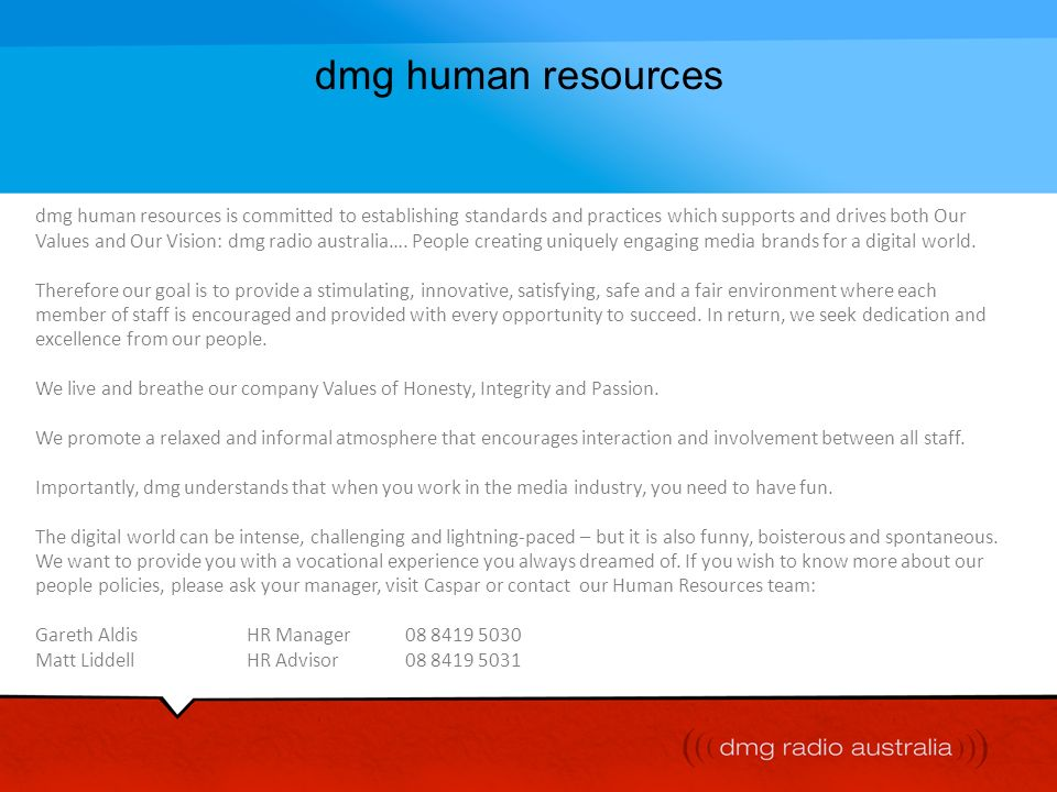 dmg human resources