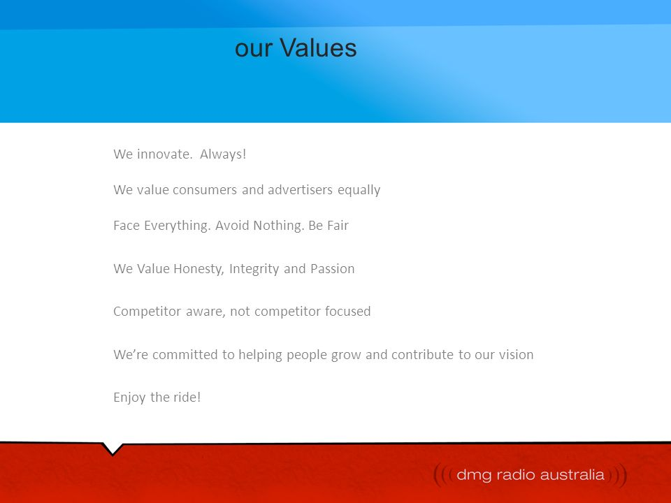 our Values We innovate. Always!