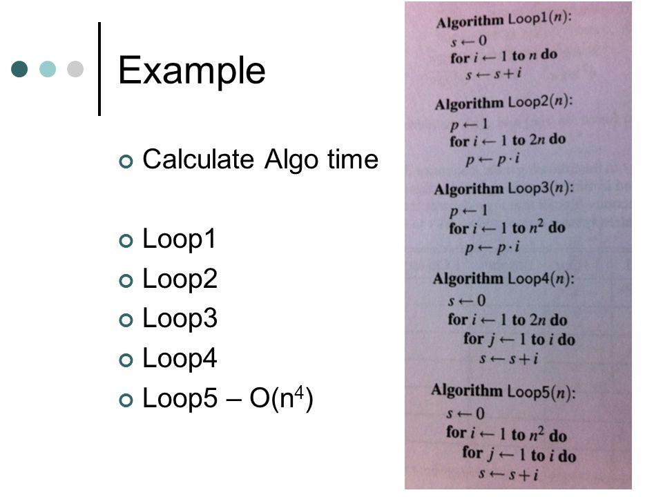 Example Calculate Algo time Loop1 Loop2 Loop3 Loop4 Loop5 – O(n4)
