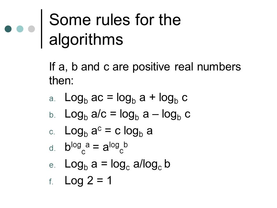 Some rules for the algorithms