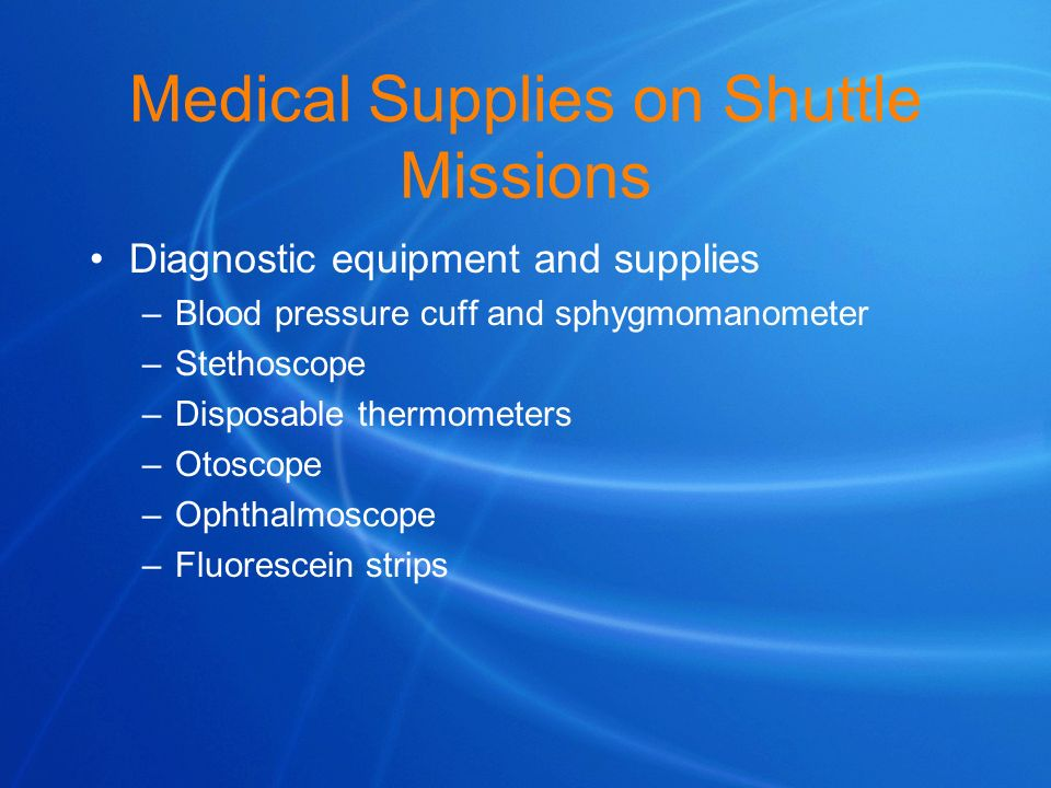 Medical Supplies on Shuttle Missions