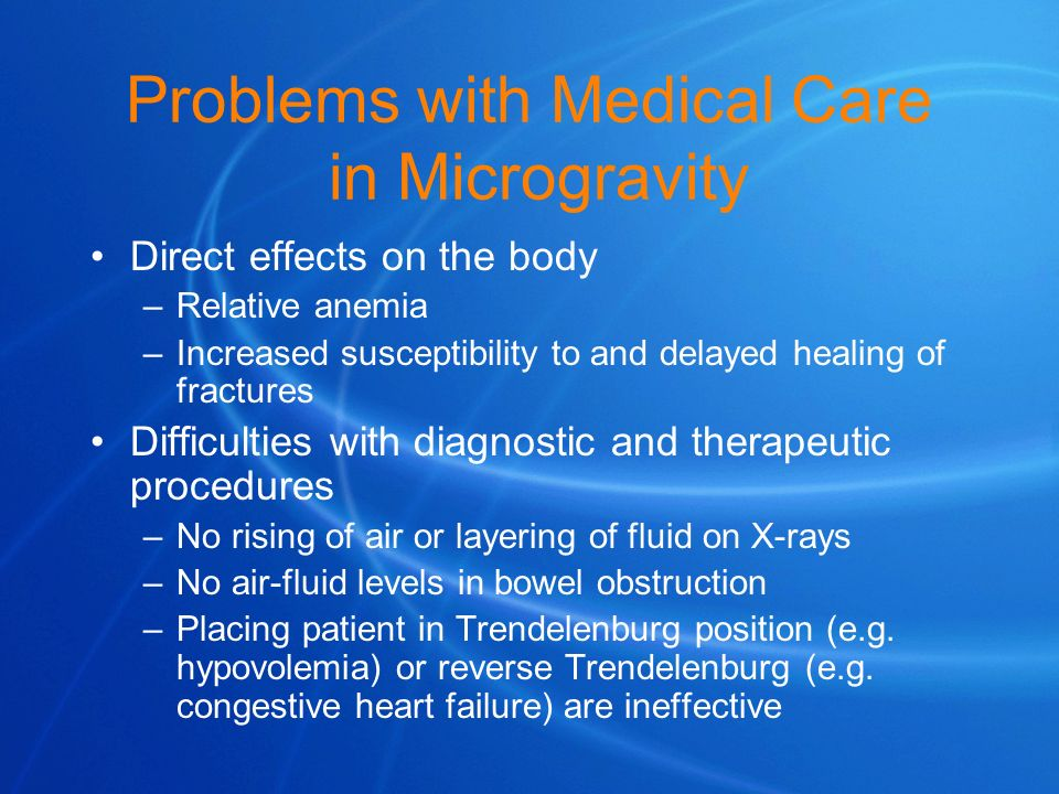 Problems with Medical Care in Microgravity
