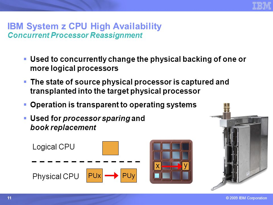 IBM System z CPU High Availability Concurrent Processor Reassignment