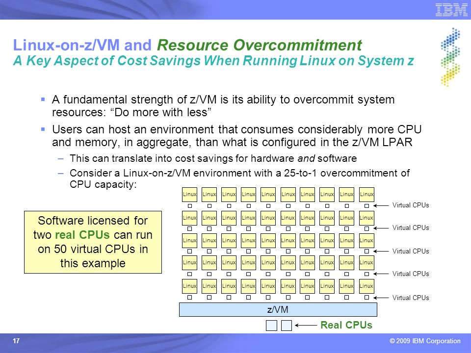 Linux-on-z/VM and Resource Overcommitment A Key Aspect of Cost Savings When Running Linux on System z