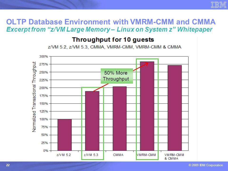 OLTP Database Environment with VMRM-CMM and CMMA Excerpt from z/VM Large Memory – Linux on System z Whitepaper