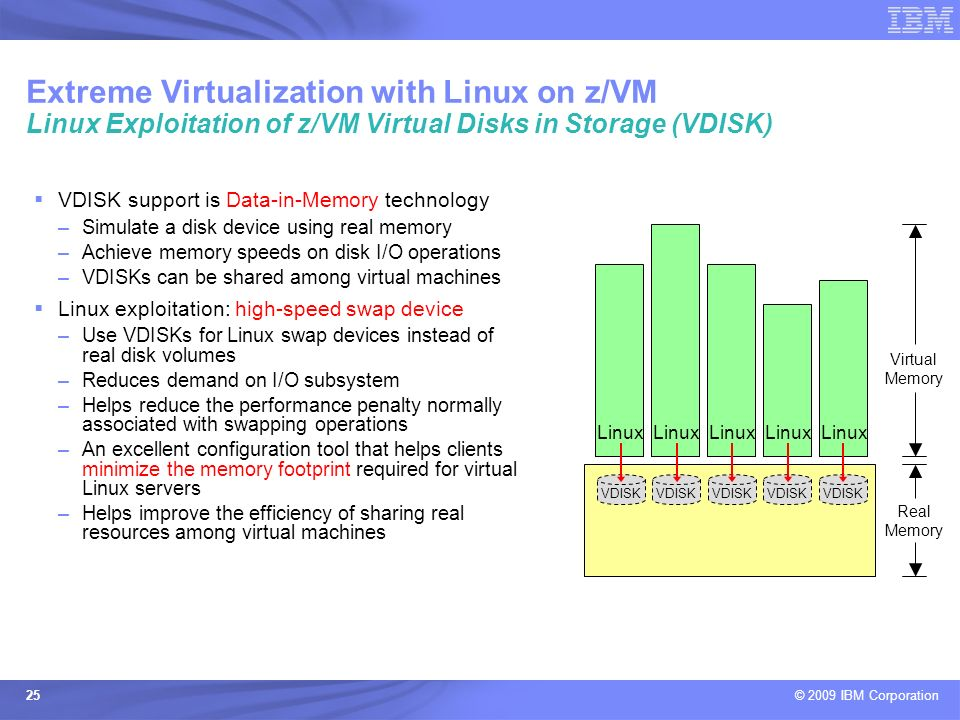 Extreme Virtualization with Linux on z/VM Linux Exploitation of z/VM Virtual Disks in Storage (VDISK)