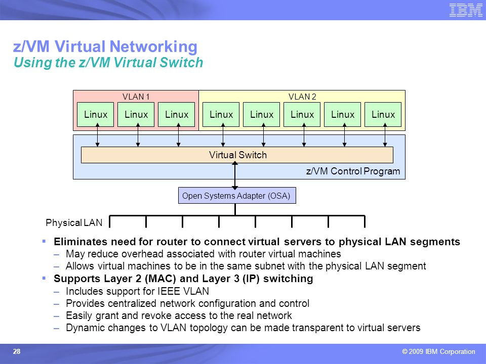 z/VM Virtual Networking Using the z/VM Virtual Switch
