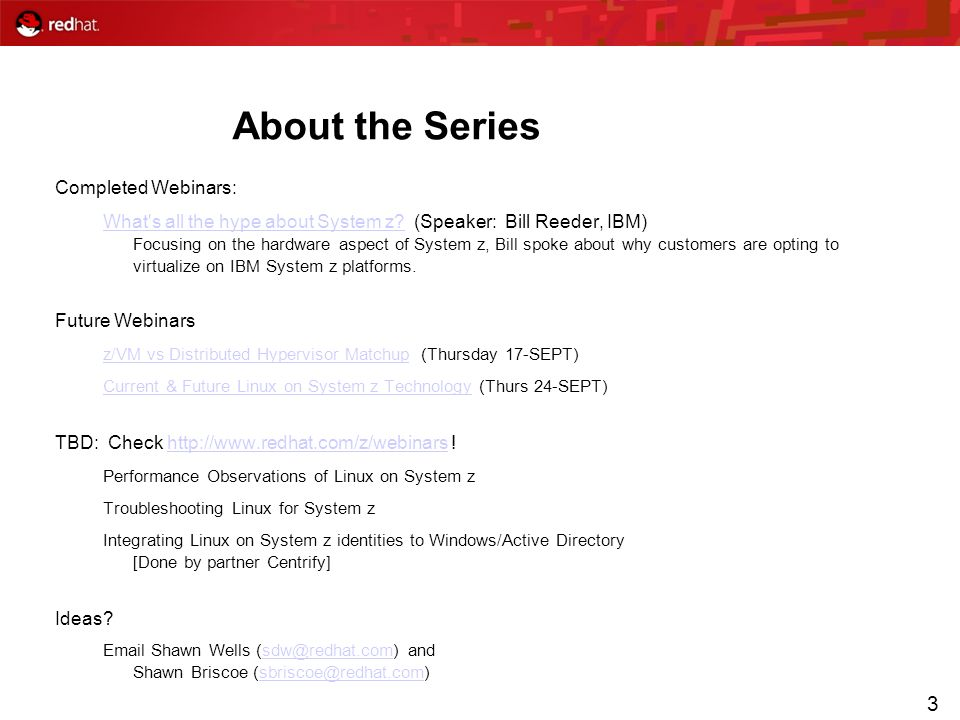 About the Series Completed Webinars: