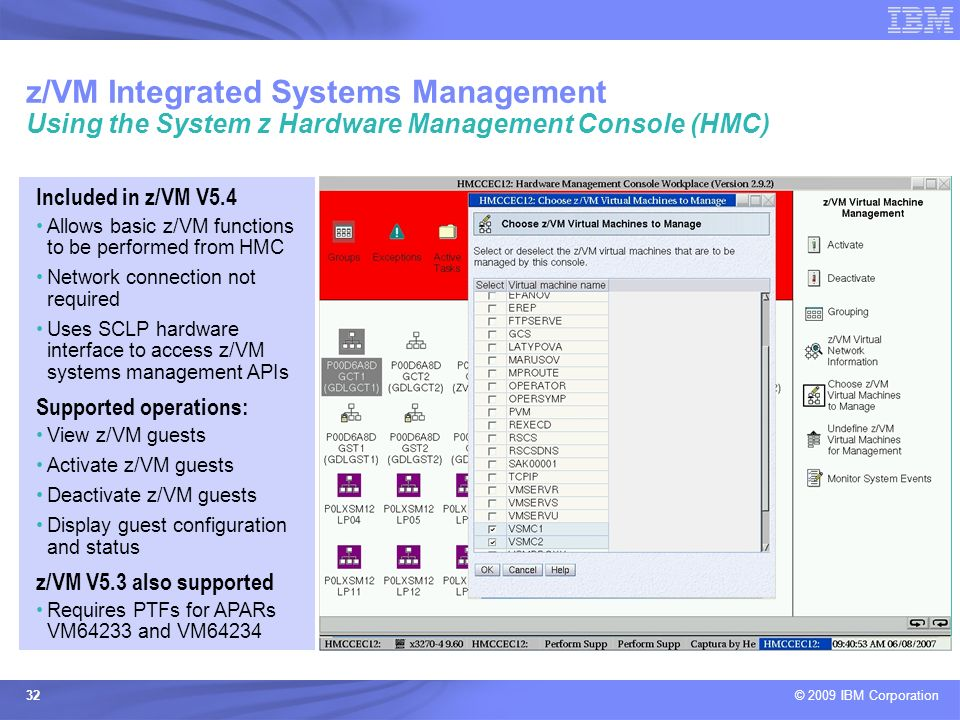 z/VM Integrated Systems Management Using the System z Hardware Management Console (HMC)
