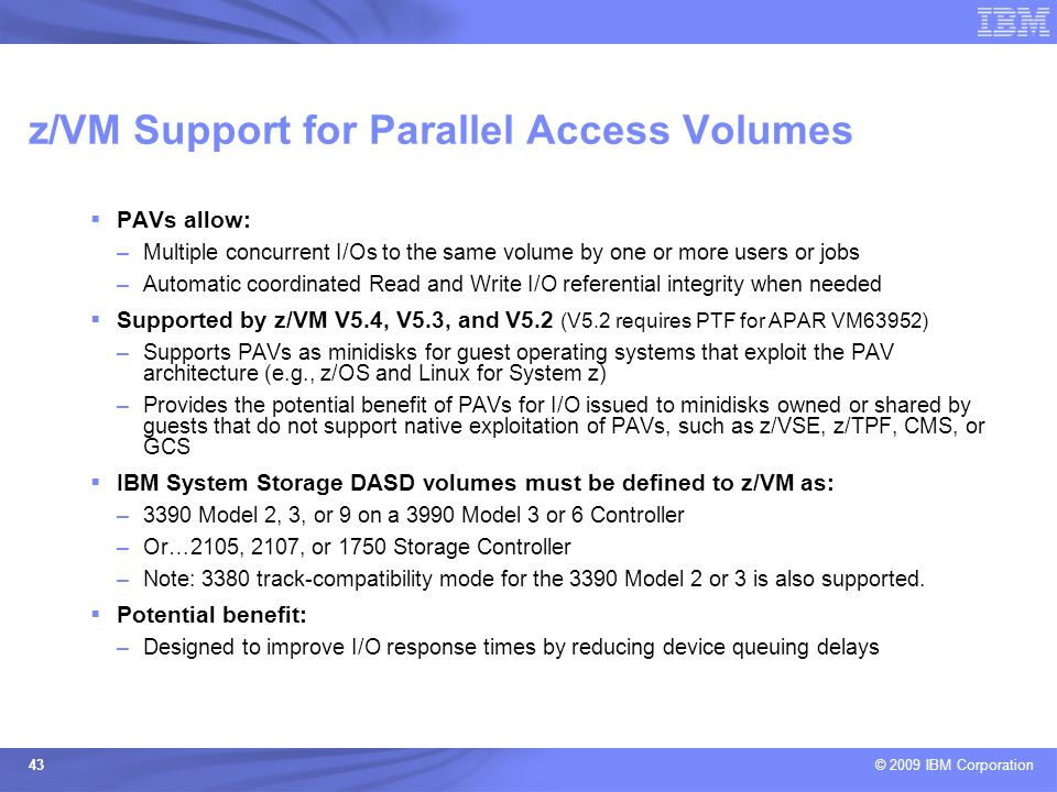 z/VM Support for Parallel Access Volumes