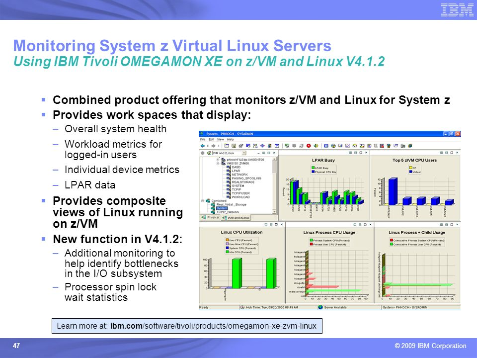 Learn more at: ibm.com/software/tivoli/products/omegamon-xe-zvm-linux