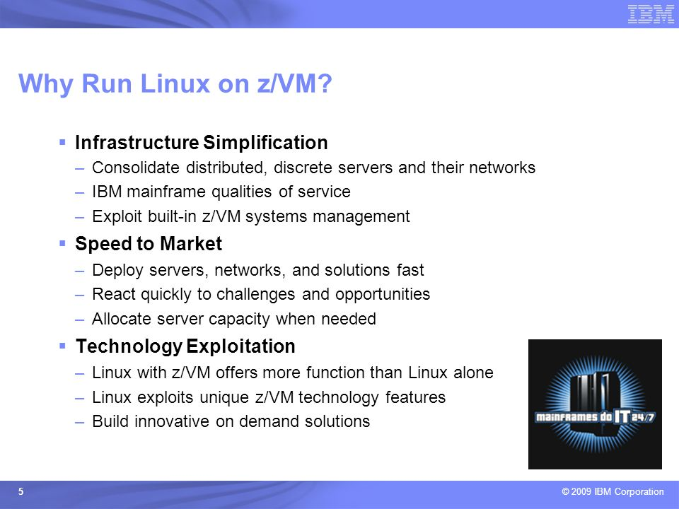Why Run Linux on z/VM Infrastructure Simplification Speed to Market